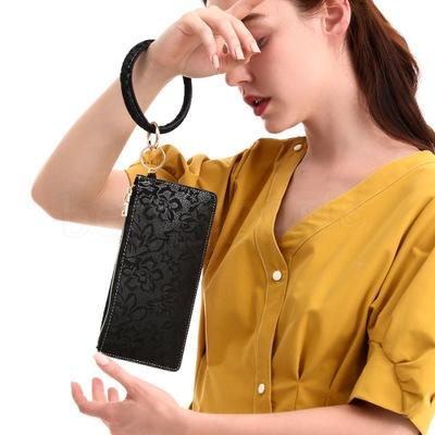 الأزياء المفتاح الدائري الاسوره بو الجلود سلسلة المفاتيح أساور حقيبة النقش المرأة أساور سوار قابض حقيبة ZZA1660