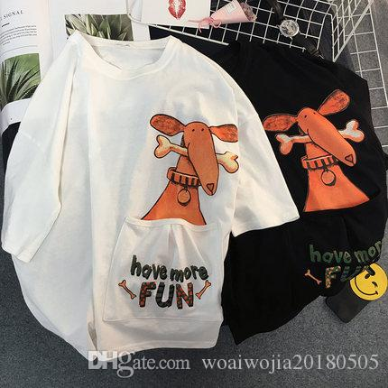 20190323 En çok satan Karikatür Köpek Yaz Boyutu Yarım kollu Tişört Üst