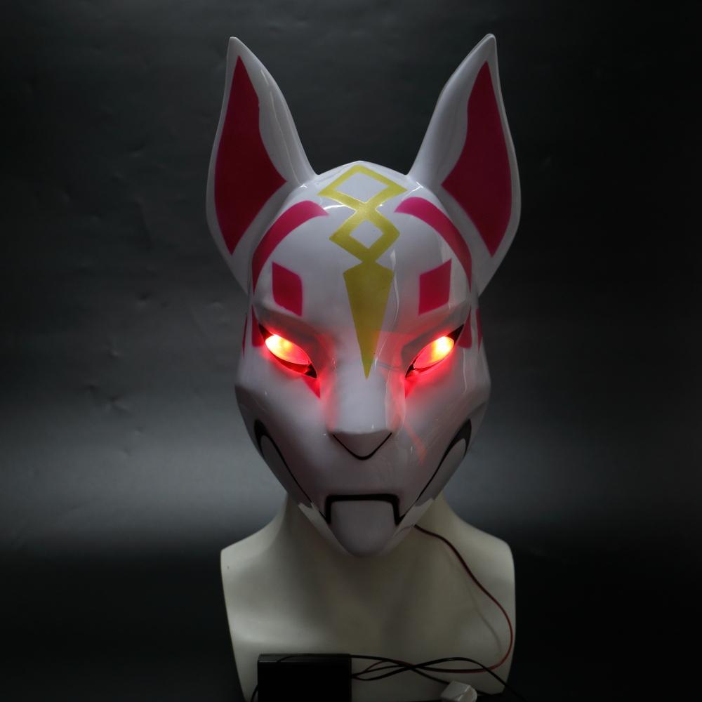 Máscara kitsune Fortniter deriva Fox máscara con la luz llevada Battle Royale fiesta de Halloween Mascarilla facial Best Cap juguete Venta de vestuario