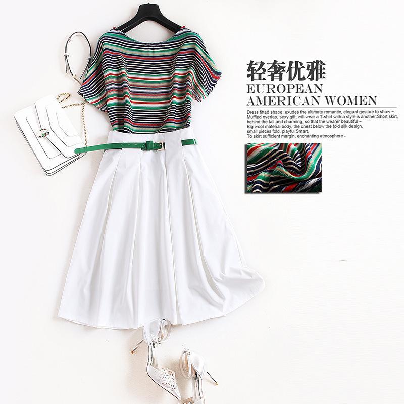Tee-shirt femme élégant rayé vert à manches courtes + une jupe blanche ceinture convient à deux pièces ensemble nouvelle 2019 printemps été casual