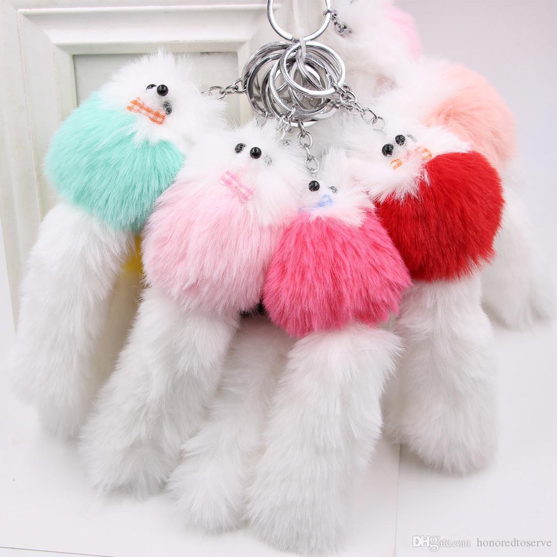 Carino Lanuginoso arco-nodo catena Fox sfera Portachiavi Pompon reale della pelliccia di Fox Charm Keychain Portachiavi Bag