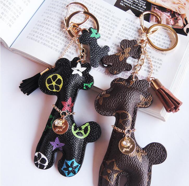 الجلود مصمم كيرينغ بو الحيوان قلادة حقيبة سحر الحلي لطيف الأزياء هدية مجوهرات اكسسوارات الكرتون الزرافة مفتاح سلاسل الدائري حامل