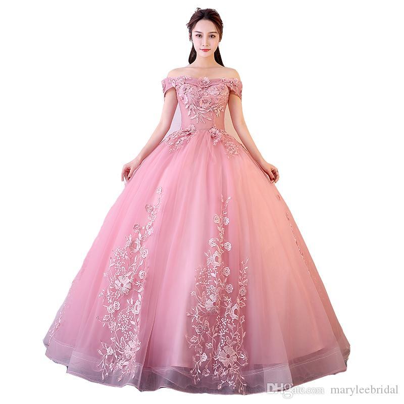 Venda Hot Vestidos Quinceanera rosa vermelha fora do ombro apliques Beading Vestidos De Gala Largos Prom Dress Puffy Bola de disfarce Vestidos
