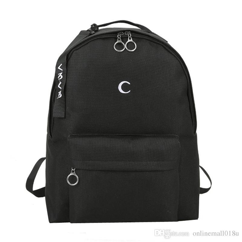 Harajuku Men's Black Backpack Embroidery Moon Cross Backpack School Bags For Teenagers Girls Boys Students Travel Bag