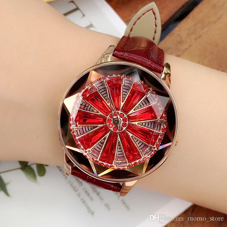 Top Quality Genuine Leather Ladies Dress Quartz Diamond Alloy Women's Watches Fashion Shining Rotation Stainless Steel Watch