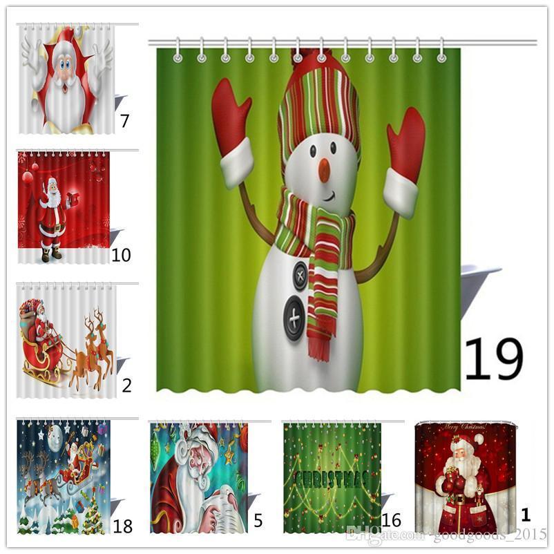 عالية الجودة دش الستار النسيج عيد الميلاد للماء الحمام سانتا ديكور المنزل السنة الجديدة هوكس 165 * 180CM c303