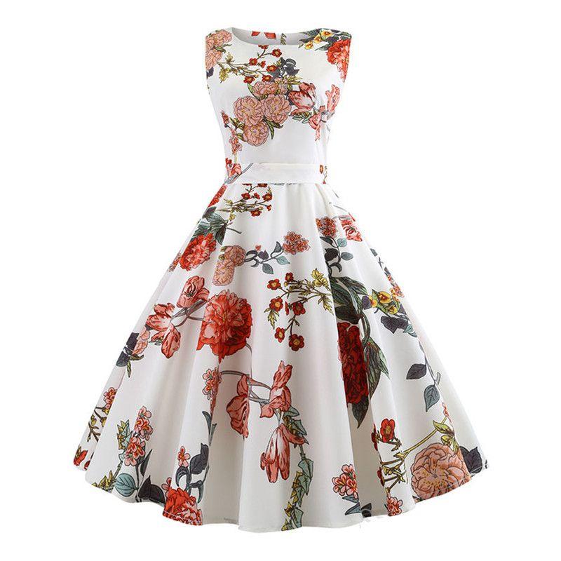 Vestido de mujer de verano Tallas grandes Casual Midi Work Office Party Sundres sin mangas Estampado floral elegante Vintage Pin Up Vestidos Jurken