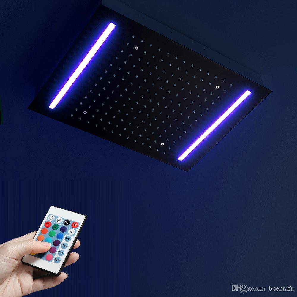 الخيالة المستطيل ملون LED ضوء رأس دش الأسود الأمطار شوويرهيدس حمام 304 SUS رؤساء دش السقف