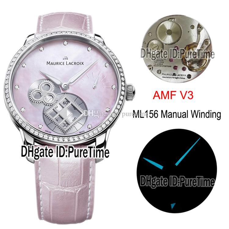 AMF V3 Maurice Lacroix Master MP7158-SD501-570 ML156 Handaufzug Quadrat Rad Frauen-Uhr-Diamant rosa MOP Leder Puretime Dial