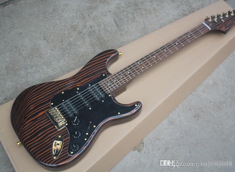 guitarra elétrica de madeira Zebra com captador preto, captador HSH, fingerboard madeira zebra, hardware ouro, serviço personalizado
