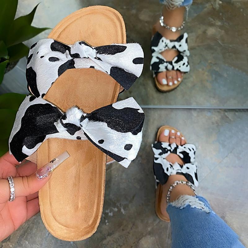 Senhoras calçado confortável mulheres Moda Cow ponto Bowties Chinelos Mulher Slides Feminino 2020 verão ao ar livre sapatos Plus Size 43