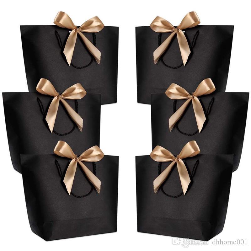 10шт Большого размера коробка подарок Упаковка золота Ручки бумага подарочных пакетов крафт бумага с ручками Свадебного Baby Shower Birthday Party Favor