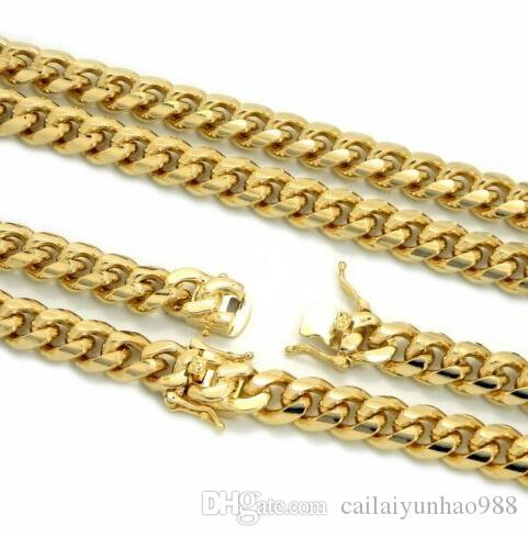 Colar cubana pesada do revestimento do ouro da corrente 14k da ligação de Miami dos homens 10mm