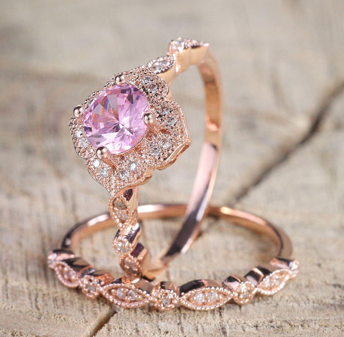 Doppelmesse süße Prinzessin Ring Set für Frauen Rosa Zirkonia Rose Gold Farbe 2 PCS Brautmode Schmuck KAR244 KAR271