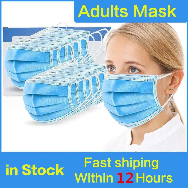 Maske Einweg-Gesicht 3 Schicht-Ear-Loop-Mund-Masken-Abdeckung 3-Ply-Non-woven Einweg-Maske weich atmungsaktive Outdoor-Teil DHL-freies Verschiffen Masken