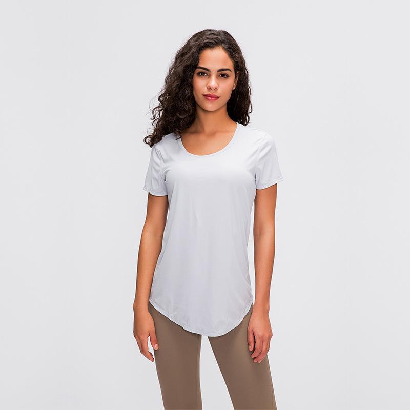 2020 Slim Fit Çıplak hissetmek Tişörtlü Kadın Nefes Gao Bomba Katı Renk Joker Spor Fitness Yoga Giyim Koşu çift taraflı