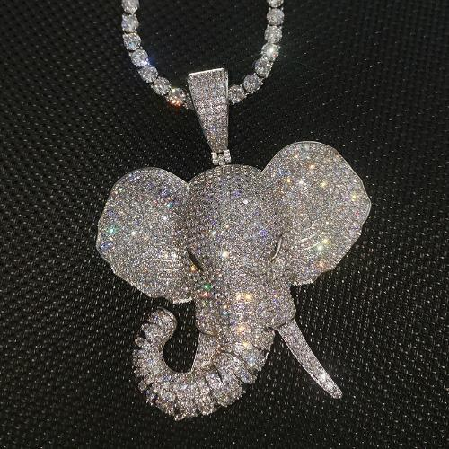 2020 New personalized Gold Plated Iced Out Diamond Elephant Pendant Necklace CZ Cubic Zirconia Cartoon Hip Hop Jewelry Gift For Men Women