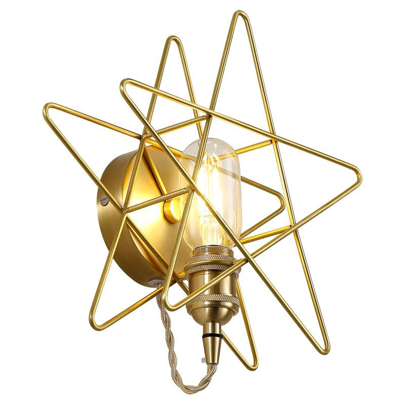 American Vintage E27 Cage mur Lampe or fer Appliques Bar Chambre Lampe contre Sconce Retro Industrial Light LED W