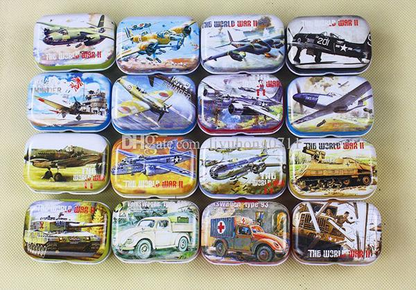 32Pcs world war 2/airplane /Tank Creative Collective Tin Boxes Small Candy Box Birthday gift for boy Party Favors