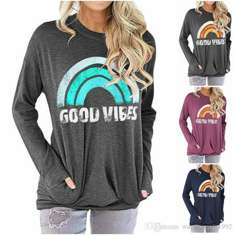 Женская толстовка с длинным рукавом с графическим топом Good Vibe Печатная толстовка Женская повседневная футболка с принтом Радуга с принтом Карманные рубашки