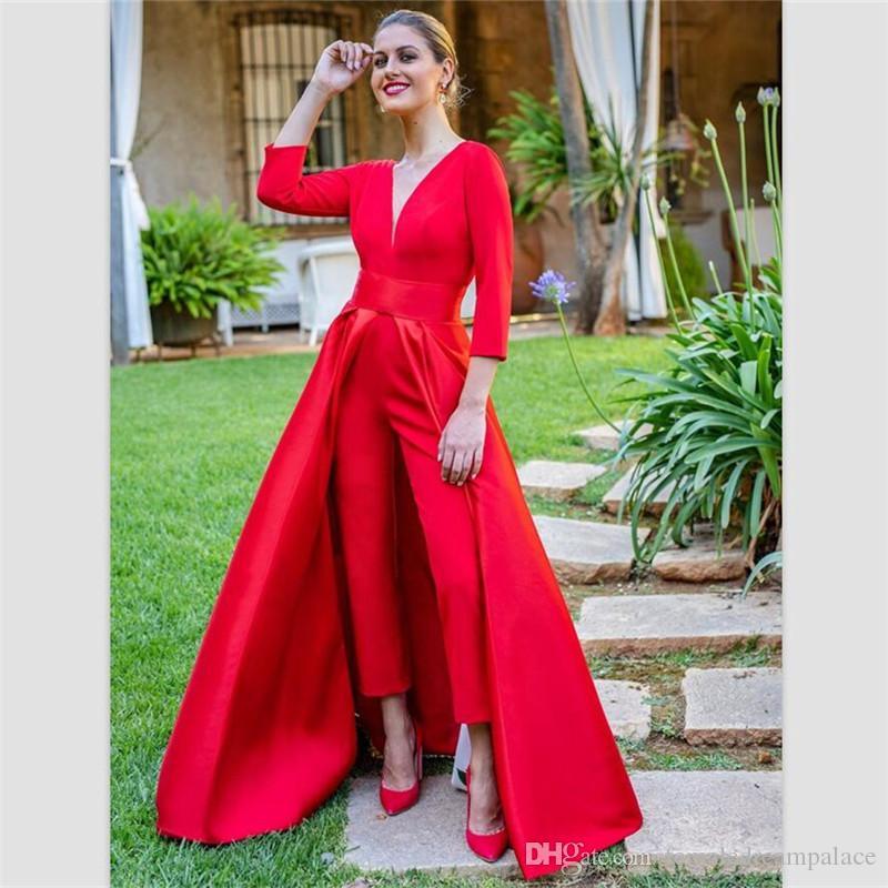 2019 dentelle rouge élégante longueur robes du soir de ligne de plancher manches longues robes de bal des salopettes femmes bal coutume robe formelle livraison gratuite