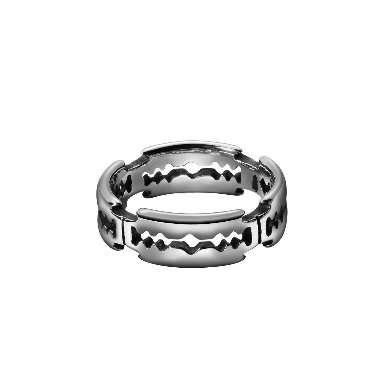 Paslanmaz Çelik Bıçak Desen Bant Halkalar Etkileşimi ve Düğün Band Ring Hafif Kilo Mücevher Band Yüzük Tasarımları