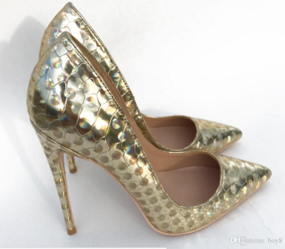 Nuevo Golden Phantom Laser Zapatos de tacón alto Zapatos de tacón alto Zapatos simples de boca baja Tamaño grande 44 Club nocturno Baile 8 cm 10 cm 12 cm
