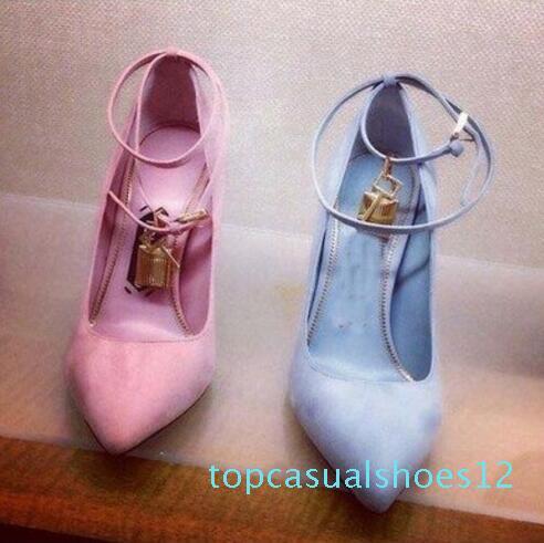 Gold Lock-Zipfel Stiletto Sexy Mode-Absatz-Designer-Schuh-Frauen Luxus Thin-Absatz-Schuhe Multi-Farben Pump Damenschuhe t12