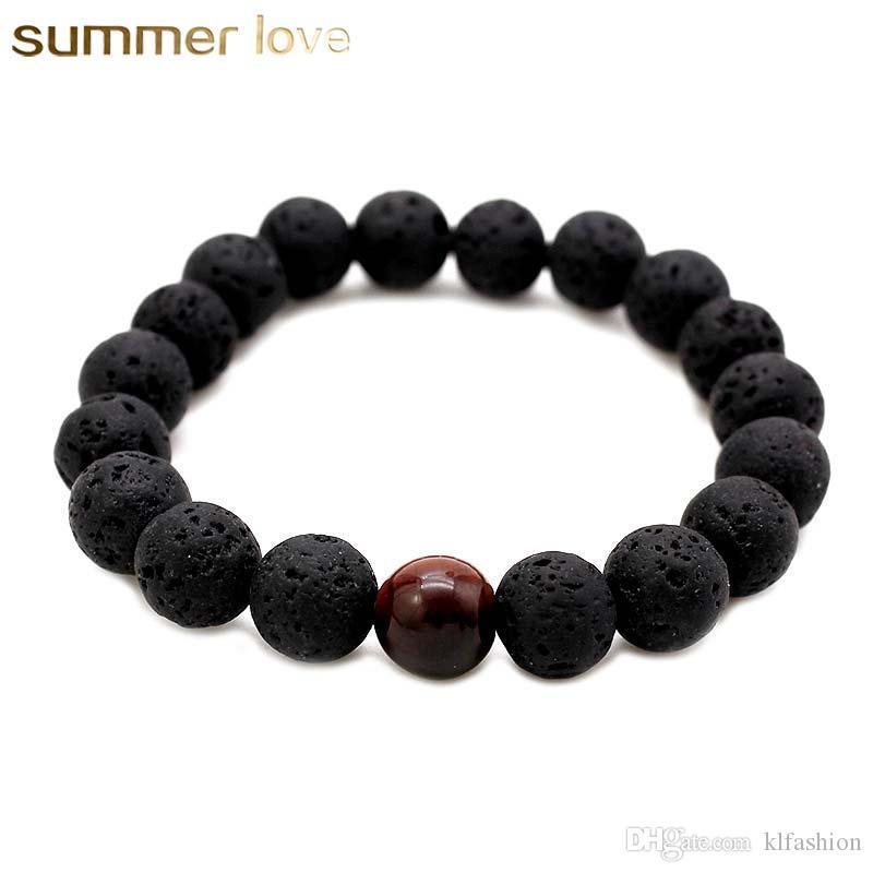 Hochwertige Lavagestein zarter Naturstein Perlen Armband für Männer Liebhaber einstellbare Größe Bodhi Perlen Schmuck Geschenk-Armband