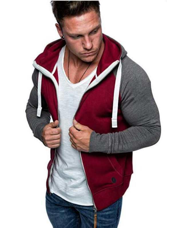 Mode-nouveaux hommes Sweats à capuche avec fermeture éclair à manches longues d'hiver Noir Gris Patchwork Designer Sweatshirts Taille M-3XL