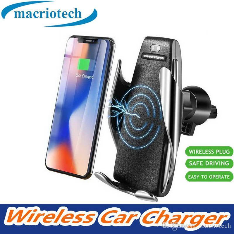 Venta caliente sin hilos del coche del cargador automático de sujeción para iPhone Android salida de aire del titular del teléfono rotación de 360 grados 10W soporte de carga rápida