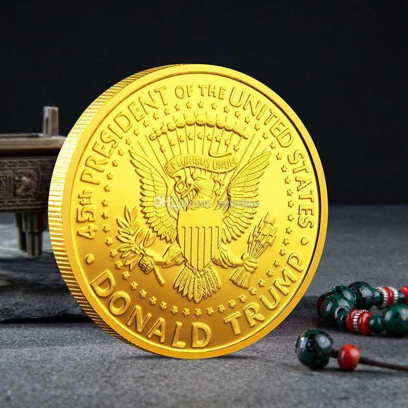 2018 presidente Donald Trump 24k Moneda Conmemorativa águila de oro plateado