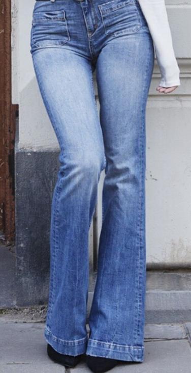 Женщины с высокой талией джинсы мода мыть джинсы худые колокольчики девушки тонкие джинсовые женские брюки бесплатная доставка