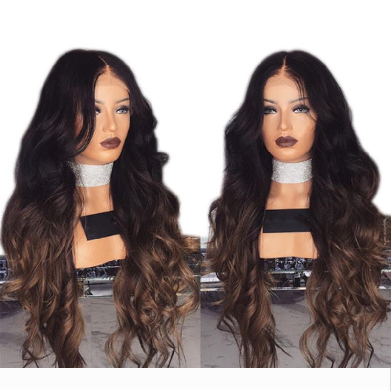 Горячий продавать 180% Плотность Длинные Ombre Браун длинные волнистые парики с Природные волос младенца 22inch жаропрочных волокна парики для чернокожих женщин