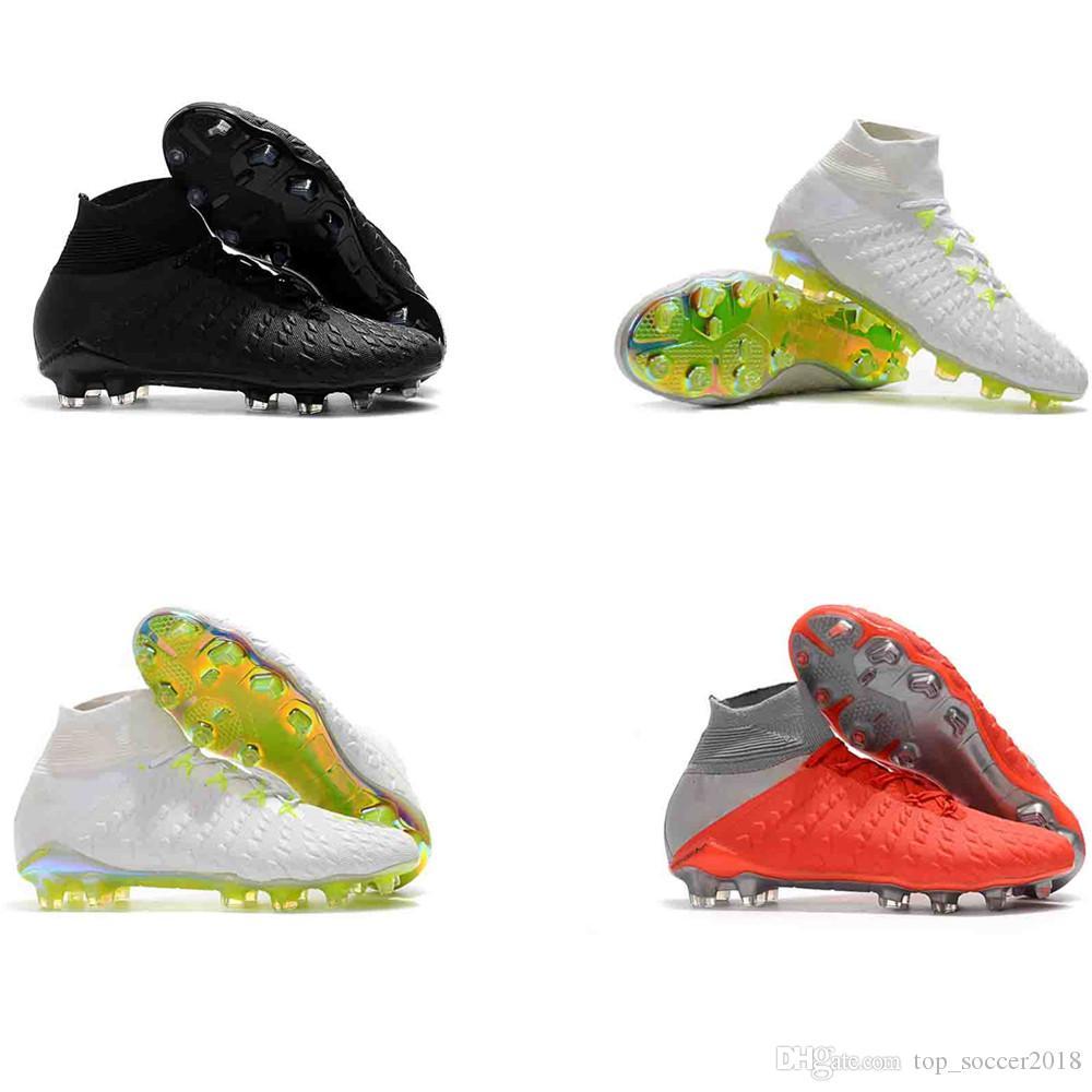 100% Original Soccer Cleats Hypervenom Phantom III DF FG Turf Zoom Neymar JR Mens Black OUTdoor Soccer Shoes