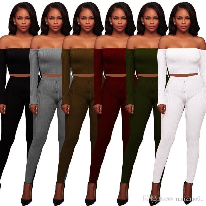 Mode féminine Traksuit à manches longues Encolure T-shirt Crop Top + Pantalons Leggings 2 Piece Sweat haute Set-élastique Tenues Vêtements 2019