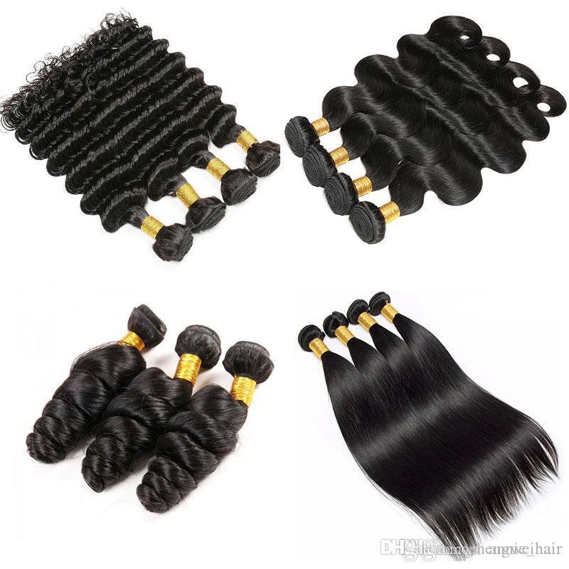 Virgem Cabelo 100% brasileira extensões do cabelo humano Natural Black 1 Bundle Heterossexual solto profunda Virgin brasileira Humano Weave do cabelo