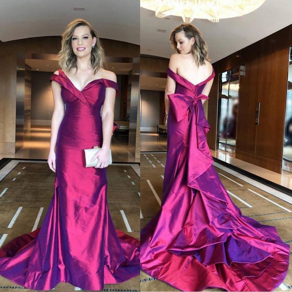 Sexy Oscar 2019 Prom Kleider Schulterfrei Meerjungfrau Abendkleid Backless Sweep Zug Taft Pageant Party Kleid Benutzerdefinierte