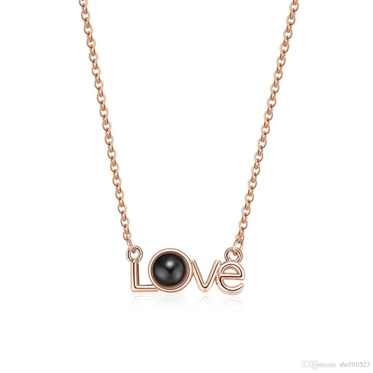 Moda AMOR em forma de colar de pingente de jóias duas cores hot vendas de alta qualidade mais recente jóia eu te amo jóias 1592