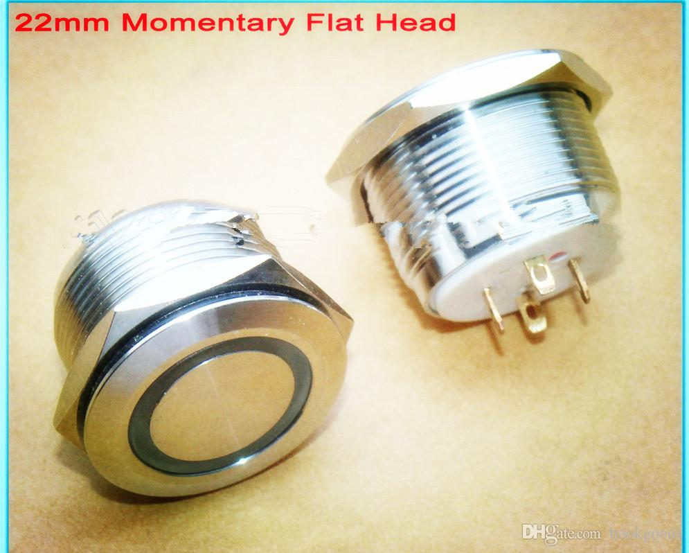 Freeshipping 36pcs / Lot 22 milímetros Waterproof Momentary 3.3V Anel LED Iluminado anti-vandalismo de aço inoxidável do metal Push Button Switch