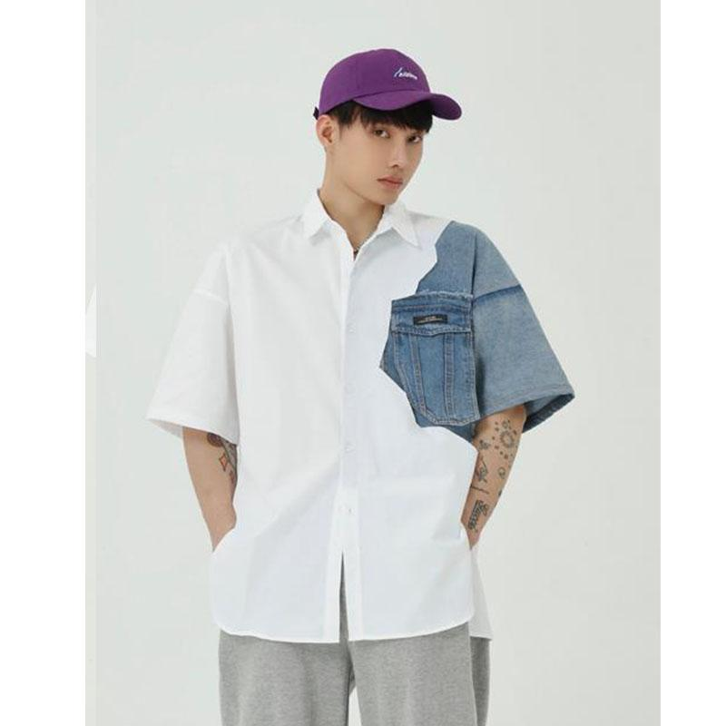 Manga de los hombres de verano dril de algodón de empalme corto flojos Camisas Casual Male Hip Hop Moda Vintage camisas