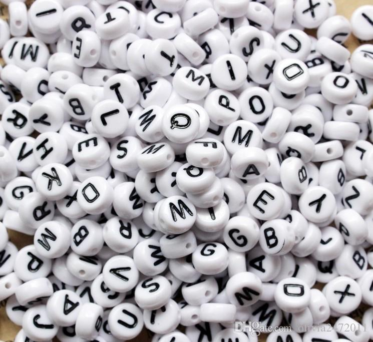 100 Pcs Silver Color Round Shape Single Alphabet Letter Beads 4*7mm DIY Letters