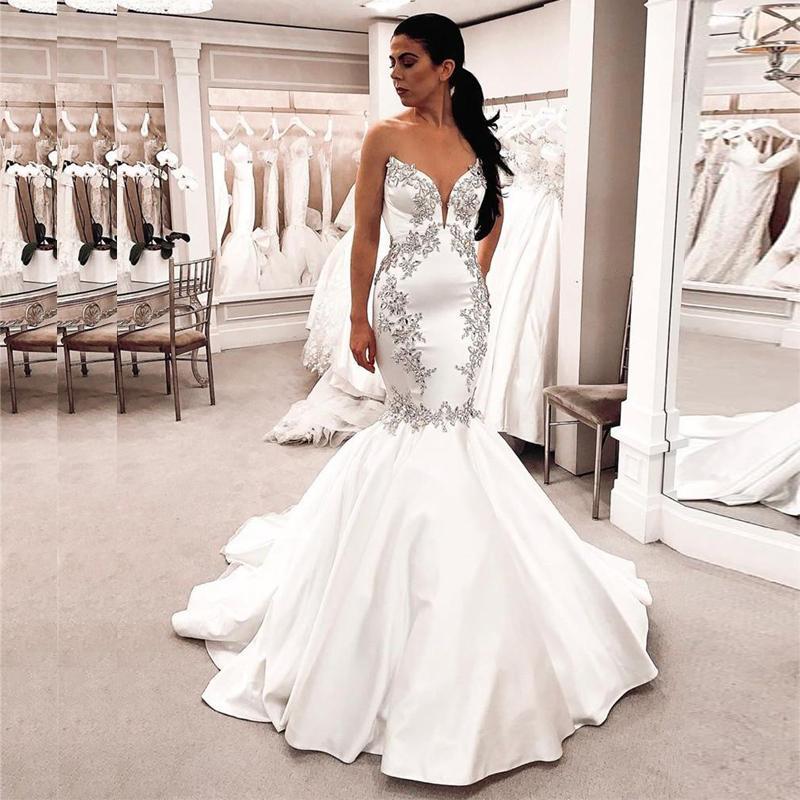 Taille Plus Sirène Robes de Mariée 2020 Corset blanc cristaux satin perlé Simple Arabe Robe de Novia Robes de mariée