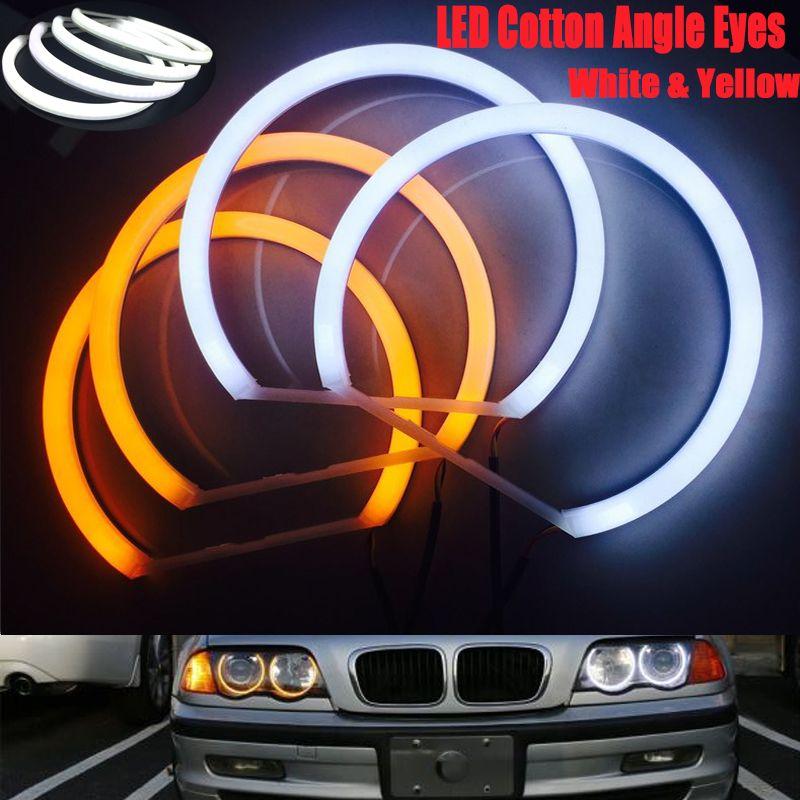 E90 E46 E36 E38 E39 E91 화이트 앰버 듀얼 컬러면 LED 천사 눈 키트 헤일로 링 DRL를 들어 신호등 CCFL 헤드 라이트를 켜고
