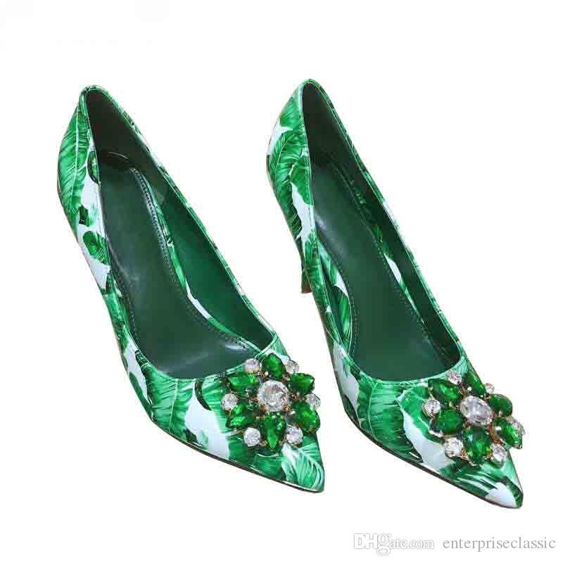 2019 Novas Mulheres Bombas Verde Fresco Padrão De Folhas De Dedo Apontado Flor De Cristal De Salto Alto Sapatos Das Senhoras Do Partido Do Casamento Deslizamento Em Sapatos