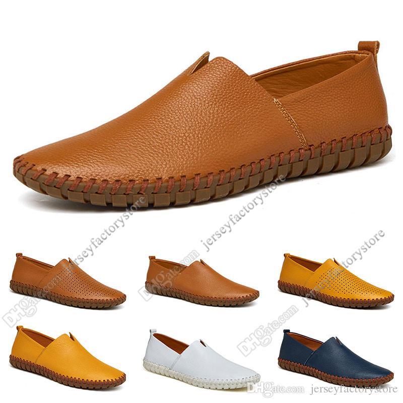 Neue heiße Art und Weise 38-50 Eur neuen Schuhe der ledernen Männer Männer Süßigkeit färbt Überschuhe britische Freizeitschuhe freies Verschiffen Espadrilles einundvierzig
