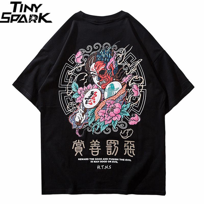 2020 Camiseta Streetwear Homens bens eo mal impressão Hip Hop T-shirt do caráter chinês Harajuku T-shirt de algodão de manga curta Tops Tees CX200616