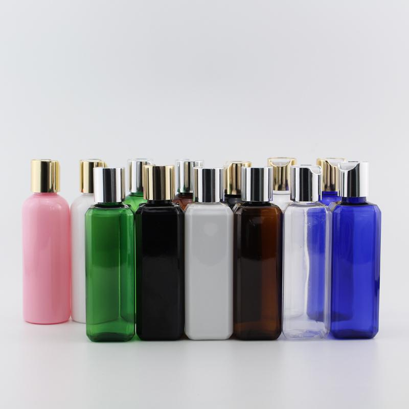 Lagerflaschen Gläser 50 stücke 100ml leerer kunststoff mit gold silber presskappe reise größe kosmetische shampoo flasche hautpflegewerkzeuge persönlich