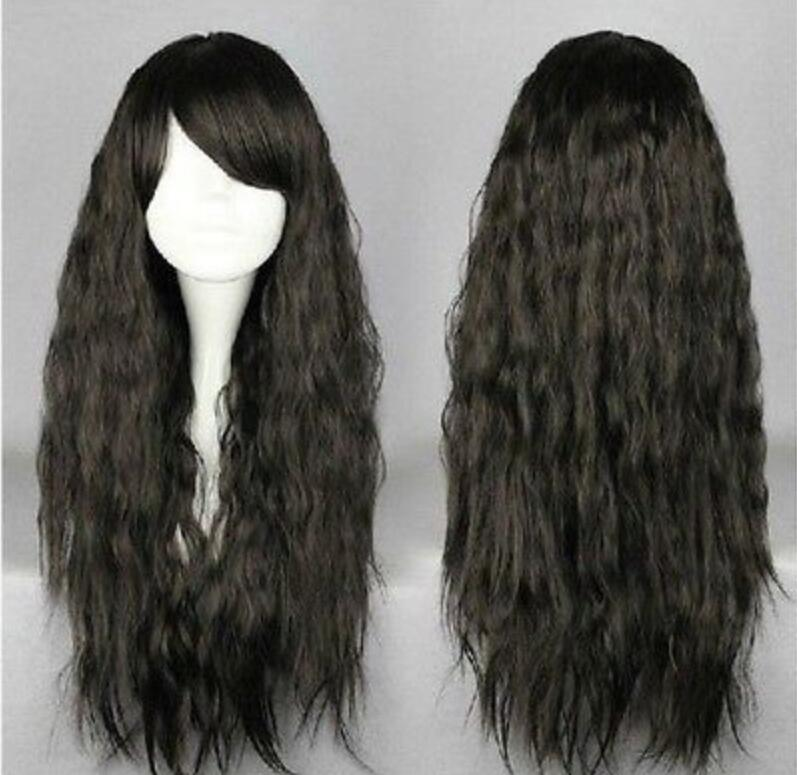 WIG Hot heat resistant Party hair>>>Lolita Fashion Long Black Harajuku Style Curly Cosplay Wig 70cm