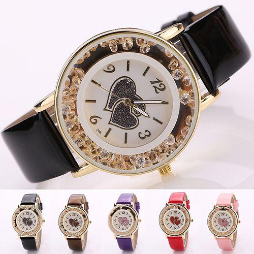 Mujeres Moda Amor Corazón Patrón Dail Faux Leather Strap Reloj de pulsera casual